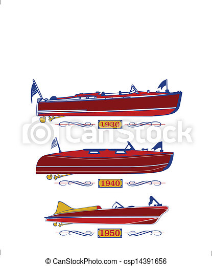 Classic Wooden Boats Vector Clipart - Instant Download - csp14391656