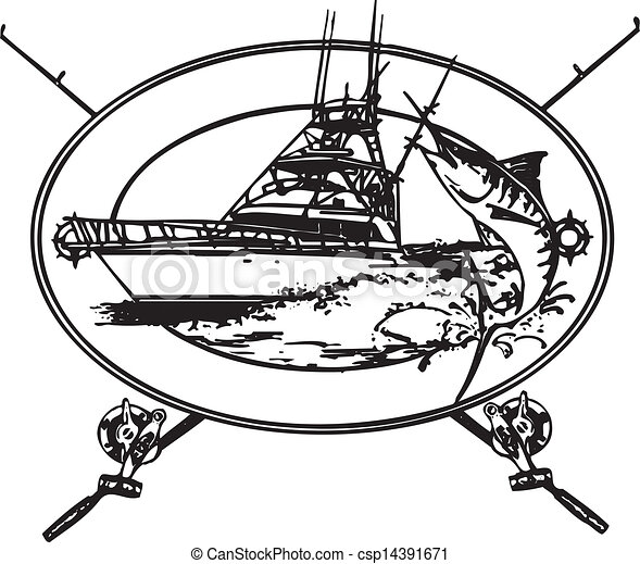 Vectors Illustration of Offshore Boat - Offshor fishing boat with Marlin coming out ...