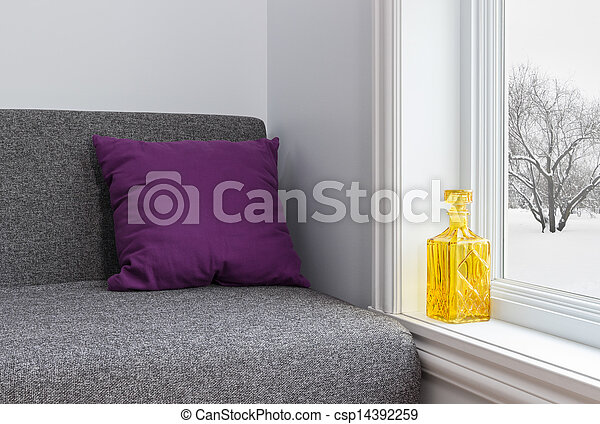 Room with bright decor and winter view - csp14392259
