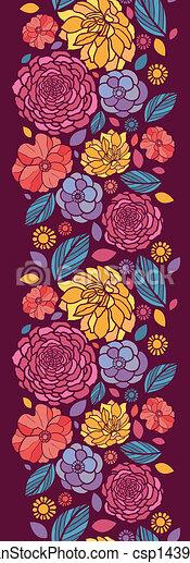 Summer flowers vertical seamless pattern background border - csp14392606