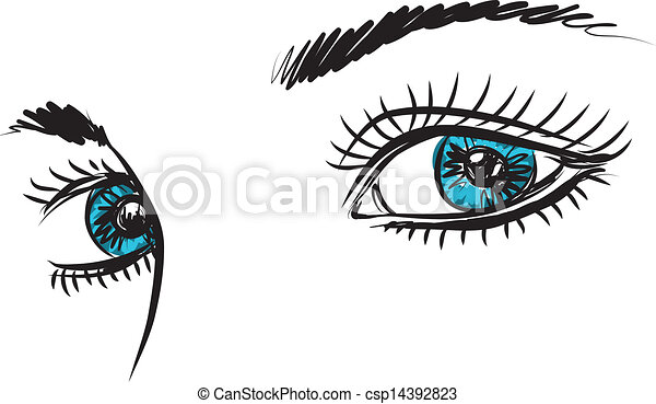 Eyes Blue Drawing Girl Lady Woman Blue Eyes