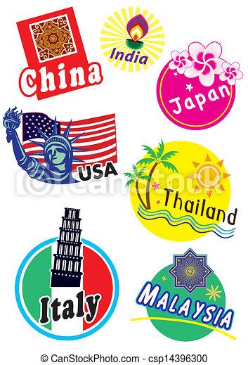 clipart vecteur de pays  voyage  ensemble  autocollant Travel Stickers for Luggage The Complete Travel Agency