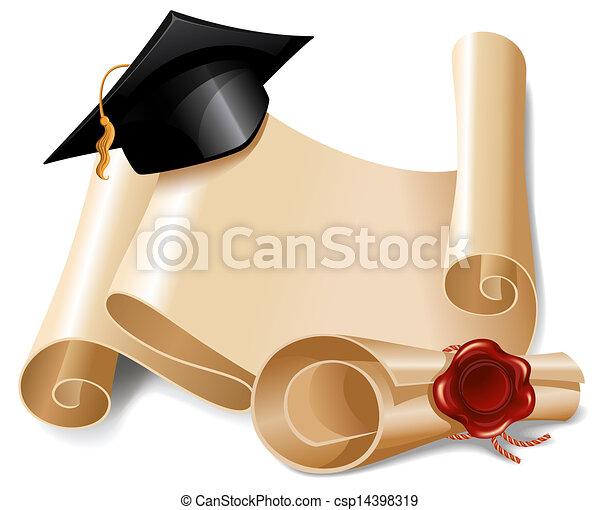 Graduation cap and diploma - csp14398319