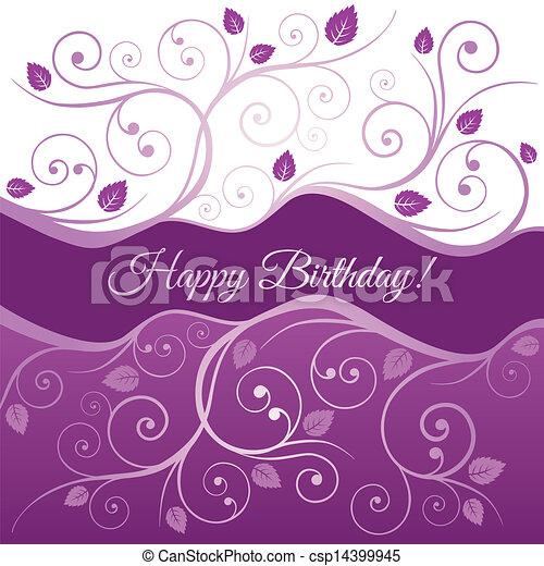 Pink happy Birthday card and swirls - csp14399945