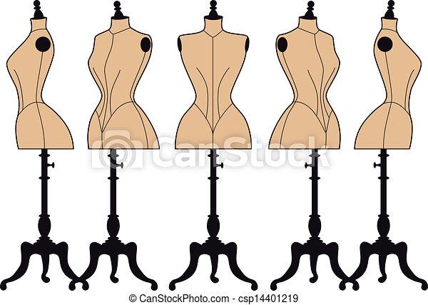 vintage fashion mannequins, vector  - csp14401219