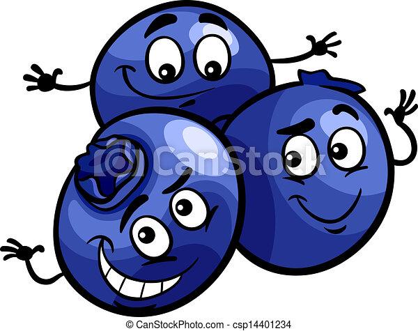 funny blueberry fruits cartoon illustration - csp14401234