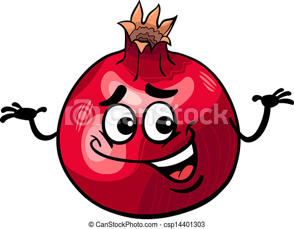 Clipart vecteur de rigolote grenade fruit dessin anim illustration csp14401303 - Grenade fruit dessin ...