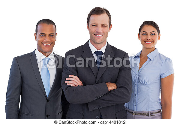 Group of smiling business people standing together - csp14401812