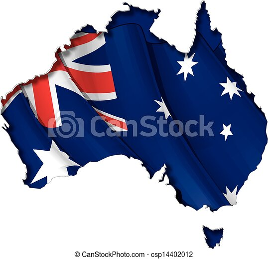 Australian Map-Flag - csp14402012