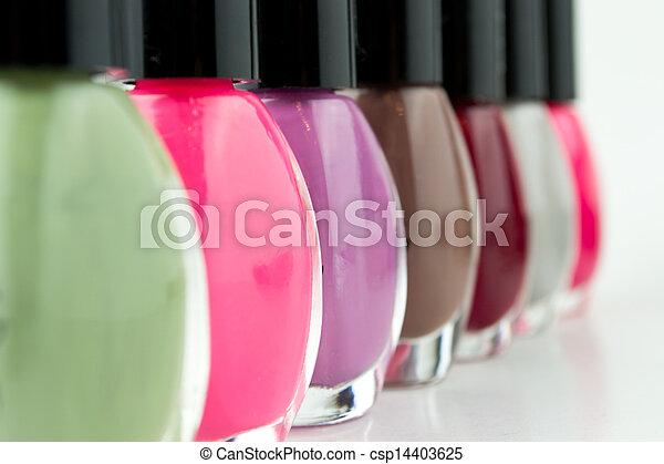 Group of bright nail polishes