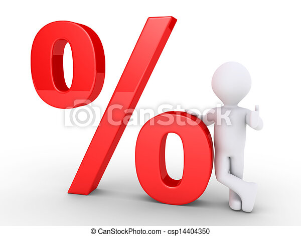 Person leaning on a percent symbol - csp14404350