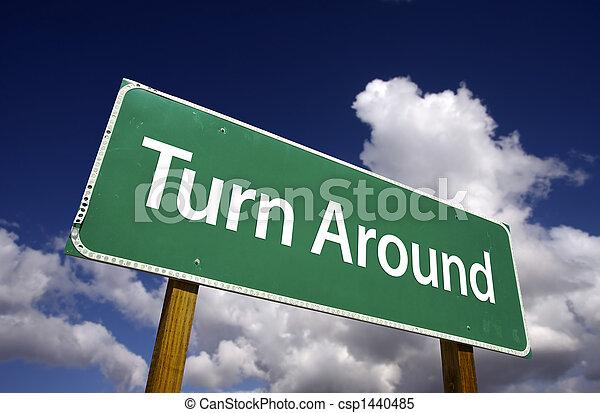 Turn Around Road Sign - csp1440485