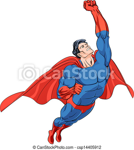 Vector Clip Art of Flying hero - Superhero flying in a blue costume ... Superhero Flying Vector