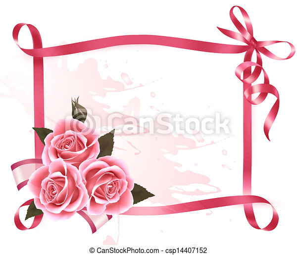 Holiday background. Colorful flowers with pink bow and ribbon. Vector - csp14407152
