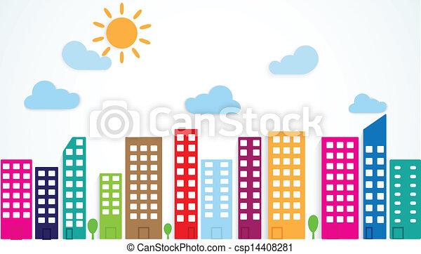 Urban Community Drawing Vector Colorful Urban Scene