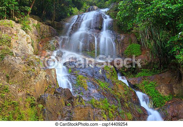 Waterfall in tropical jungle, Na Muang, Koh Samui - csp14409254