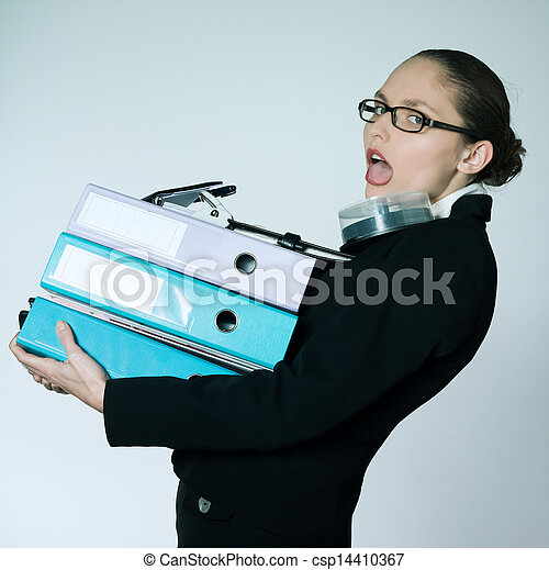 business woman carrying files and folders - csp14410367