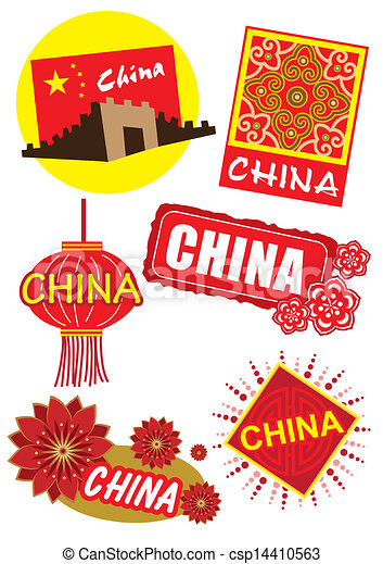 Clip Art Vector of China travel country icon illustration ...