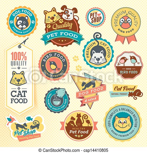 Set of animal labels and stickers - csp14410805
