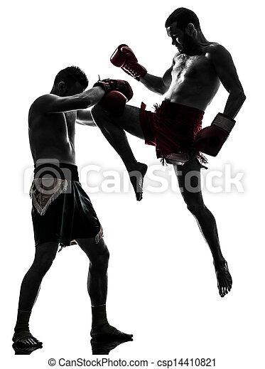 two men exercising thai boxing silhouette - csp14410821