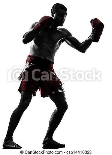 one man exercising thai boxing silhouette - csp14410823