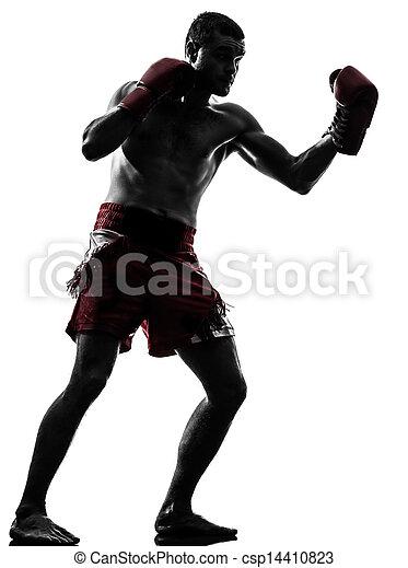 one man exercising thai boxing silhouette - csp14410823