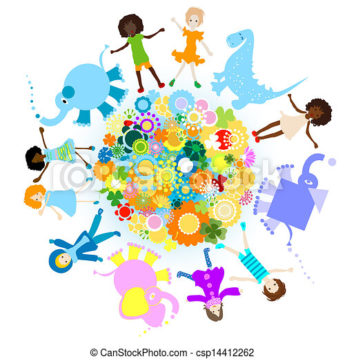 Clip Art Vector of kids and planet; joyful illustration with ...