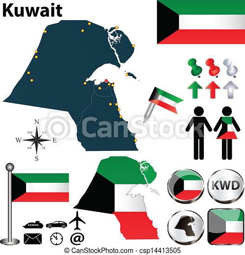 Kuwait Map Vector Map of Kuwait Csp14413505
