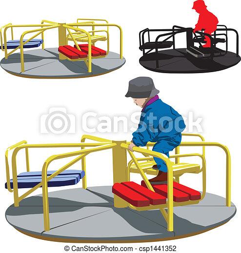 Boy on the carousel - csp1441352