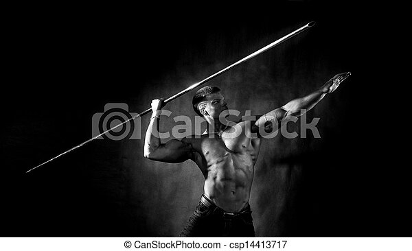 Bodybuilder throwing javelin - csp14413717