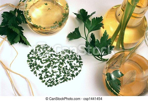 Vinegar, oil and herbs - csp1441454