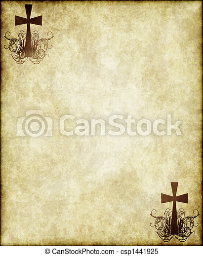 cross on old parchment - csp1441925