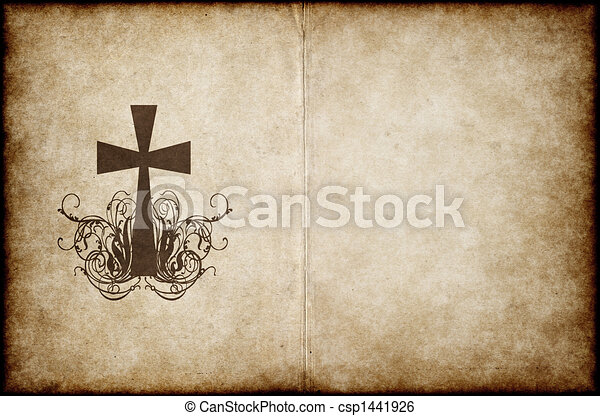cross on old parchment - csp1441926