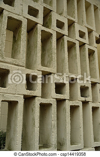 Stock Images of 1960s design concrete block wall An open pattern