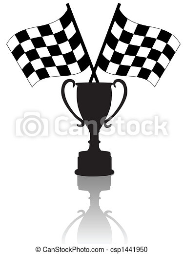 Crossed Checkered Flags and Victory - csp1441950