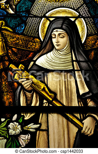 Stained Glass window of St Monica holding the cross of Jesus Christ in peaceful prayer - csp1442033