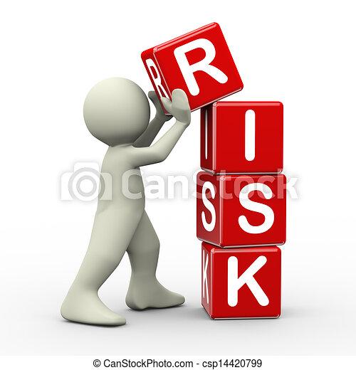3d man placing risk cubes - csp14420799