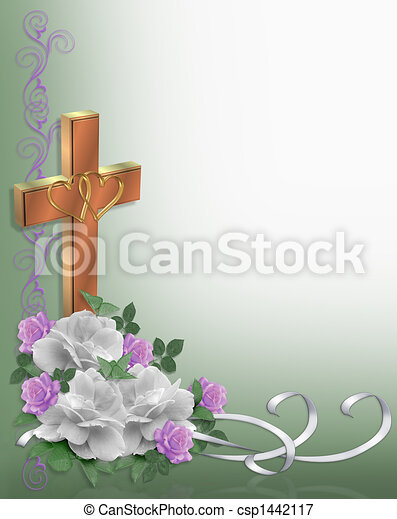 Wedding Border Roses Christian - csp1442117