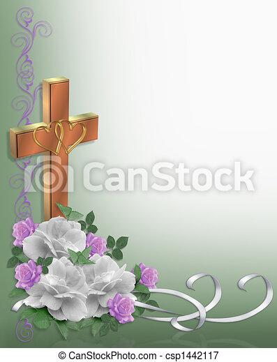 Wedding Border Roses Christian - csp1442117