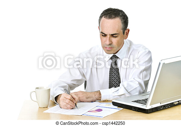 Office worker studying reports - csp1442250