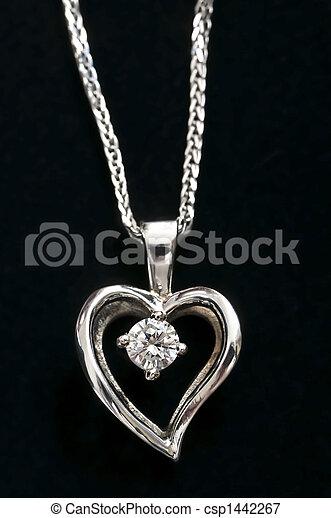 Diamond heart necklace - csp1442267