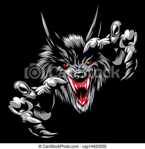 wolf devil - illustrated wolf Angry Black Wolf Drawing