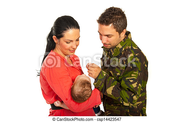 Military father first meeting with  his son - csp14423547