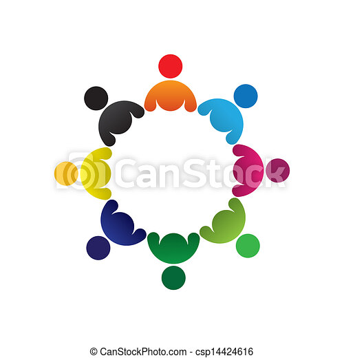 Concept vector graphic- abstract colorful children group icons(signs). The illustration represents concepts like worker unions, employee diversity, community friendship & sharing, kids playing, etc - csp14424616