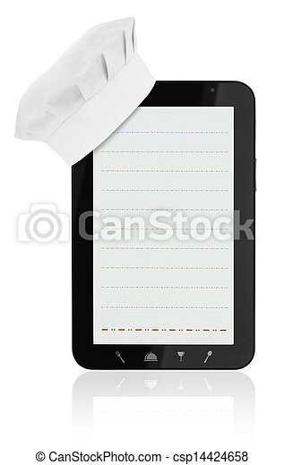 Tablet computer with chef hat and food icons - csp14424658