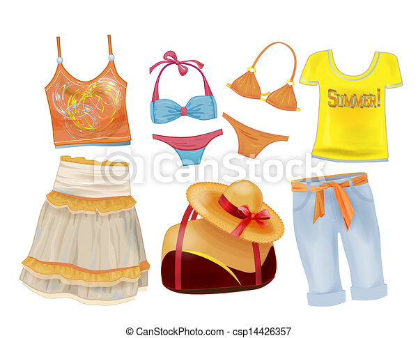 Clipart Vector of set of summer clothes for girls ...