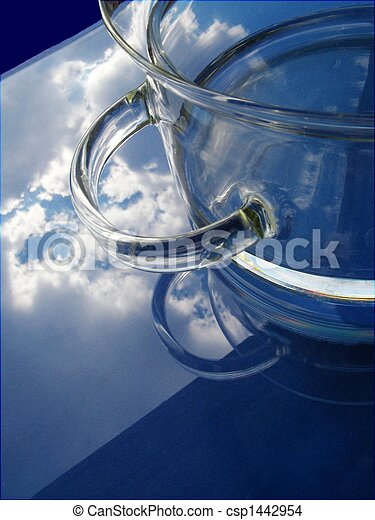 Pot and water over blue sky