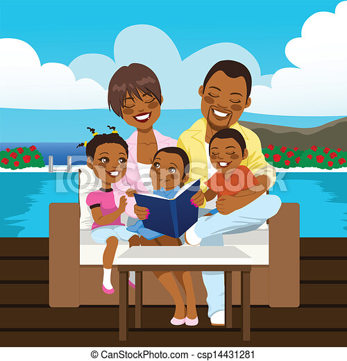 Vecteur heureux africaine am ricain famille banque for Prix piscine 3x5