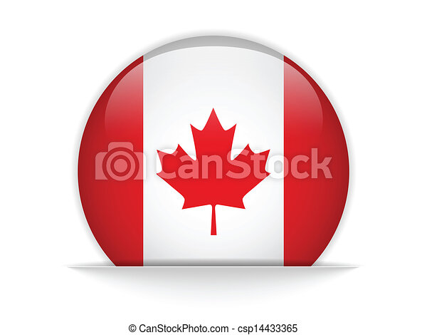 Canada Flag Glossy Button - csp14433365
