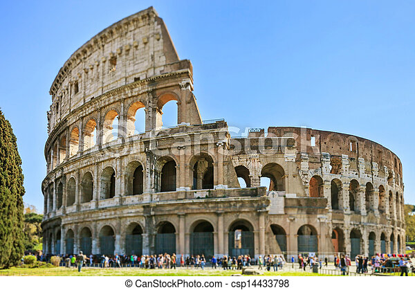 Roman Colosseum architecture landmark in a tilt shift photography. Rome, Italy - csp14433798